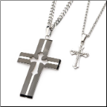 INOX Stainless Steel His & Hers Cross Pendant Set
