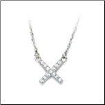 "16+2"" Inox Stainless Steel and CZ ""X"" Necklace"