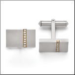 Titanium Cuff Links with Ip Gold Line and CZS
