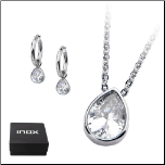 Inox Stainless Steel & Tear Drop CZ Jewelry Set w/ Earrings & Pendant