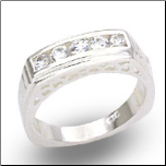 5 Stone Sterling Silver Band