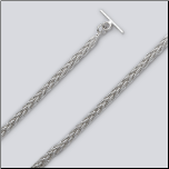 "7"" Hand Made Sterling Silver Square Spiga(Wheat) Chain Toggle Bracelet"