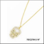 "16"" Ip Gold Stainless Steel CZ Skull Pendant & Chain"