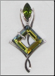 Platinum Finished Sahara Swarovski Crystal Pendant