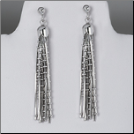 10 Strand Sterling Silver Snake Chain Earrings