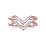 18K Rose Gold Over Sterling Silver and Double Row CZ Ring