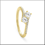 18K Gold Over Sterling Silver Double CZ  Ring