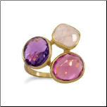 14K Gold Over Sterling Silver with Amethyst, Rose Quartz and Pink Glass