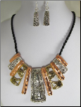 3 Tone (silver, gold, rose gold) Necklace and Earring Set