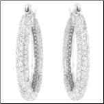 30mm Sterling Silver and CZ Hoop Earrings