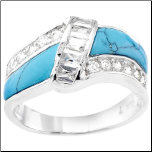 CZ and Turquoise Sterling Silver Ring