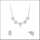 "15+2.5"" Sterling Silver&CZ 5 Flower Necklace&Earring Set"