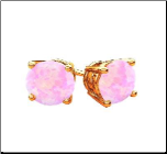 18K Rose Gold Vermeil Pink Ethiopian Opal Earrings