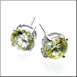 3 Carat Sterling Silver Peridot CZ Earrings