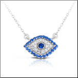 "16"" + 2"" Sterling Silver and CZ Evil Eye Pendant and Chain"