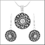 Black Rhodium Sterling Silver Pendant and Earring Set with White CZs