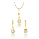 Gold Over Sterling Silver & CZ Earrings and Necklace Set