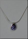 "17+3.75"" Tear Drop Shaped Tanzanite Swarovski Crystal Pendant w/ Chain"