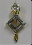 Golden Shadow Swarovski Diamond Shaped Crystal Pendant