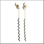 Gold Over Sterling Silver Zig Zag Dangling Earrings & Turquoise Stones