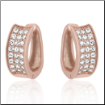13 mm Rose Gold Plated Sterling Silver 3 Row CZ Huggie Earrings