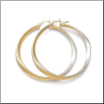 40mm Italian Sterling Silver and Gold Vermeil Twisted Hoop Earrings