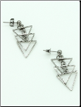 Black Textured Triple Triangle Post Back Earrings