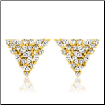 Gold Over Sterling Silver and CZ Triangle Shaped Earrings