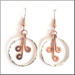 Handmade Copper and Silver Plated Dangling Earrings
