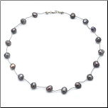 "16"" Sterling Silver and Gray Pearl Necklace"