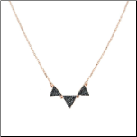 "16+2"" Triple Black CZ Triangle Necklace in Rose Gold"