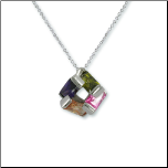 Rhodium Pendant w/ Multi-color Emerald Shaped CZs & Chain