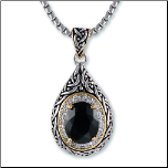 Antiqued Two-tone Designer Inspired Tear Drop Shaped Black CZ Pendant