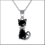 Rhodium & Black Rhodium Cat Pendant w/ Clear & Black CZs & Chain
