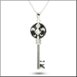 "16"" + 2"" Sterling Silver, Black Enamel,and CZ Key Pendant and Chain"