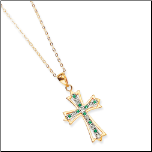 Gold Vermeil Diamond and Emerald Cross Pendant