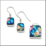 Sterling Silver and Dichroic Glass Pendant and Earrings Set