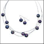 Dichroic Glass and Sterling Silver Necklace and Earring Set