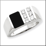 Sterling Silver, Black Onyx and CZ Ring