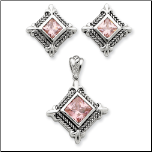Sterling Silver and Pink CZ  Pendant & Earring Set