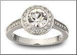9mm Center Stone Halo CZ Engagement Ring with Side CZS
