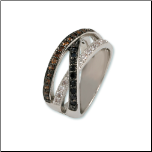 Rhodium Crossover Ring with Tri-tone CZs (Black, Brown, White)
