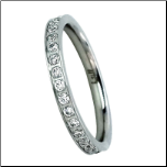 2mm b.tiff Stainless Steel Wedding, Eternity Ring with Signity Star CZs