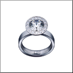 5mm B.Tiff Stainless Steel 1+  Carat Signity Star Halo Ring