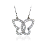 17+1.5 Rhodium plated Swarovski Crystal Butterfly Pendant & Chain