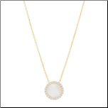 "16+2"" Gold Vermeil, Mother of Pearl, and CZ Circle Necklace"