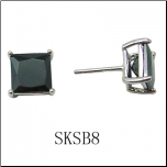 Unisex Sterling Silver and 8mm Princess Cut Black CZ Stud Earrings