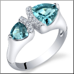 Sterling Silver 2 Stone Trillion Cut London Blue Topaz Ring