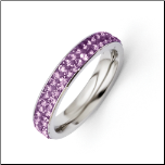 4mm Stainless Steel and Light Purple Crystal Ring
