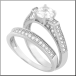 Sterling Silver and CZ Wedding andEngagement Ring Set